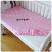 Berry Baby pamut gumis lepedő 60x120 cm: rózsaszín pöttyös