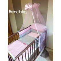 Babaágynemű -3 részes Berry Baby szett- (bővíthető): rózsaszín pöttyös-szürke pöttyös, sötétrózsaszín szatén szalag