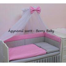 Babaágynemű -3 részes Berry Baby szett- (bővíthető): rózsaszín pöttyös-szürke pöttyös, szürke szatén szalaggal