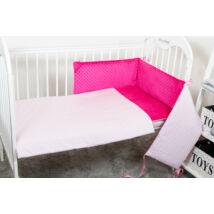 Berry Baby Selymes pink színű minky+ rózsaszín szívecskés babaágynemű szett (BŐVÍTHETŐ)