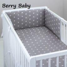 Babaágynemű -3 részes Berry Baby szett- (bővíthető): Szürke alapon fehér nagy csillagos
