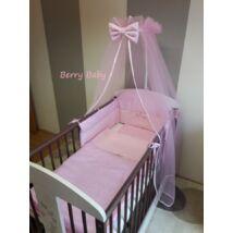 Berry Baby Babaágynemű szett 70-es kiságyba íves fejvéggel: Rózsaszín pöttyös+rózsaszín, cicás szalaggal-KÉSZLETRŐL!