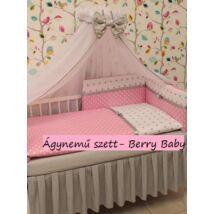 Babaágynemű -3 részes Berry Baby szett- (bővíthető): Babarózsaszín nagy pöttyös+fehér csillagos