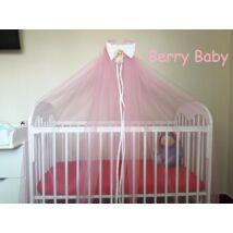 Berry Baby Extra baldachin függöny-körbe érő: rózsaszín+fehér masni/szegő