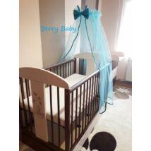 Berry Baby muszlin baldachin függöny KÉK-kék masni/ fehér szegő klasszikus méretben