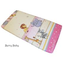 Berry Baby Pamut gumis lepedő-60x120 cm: rózsaszín szafari