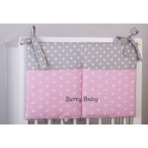 Berry Baby 2 zsebes pelenka tároló: rózsaszín csillag- szürke pötty