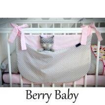 Berry Baby Smile pelenka tároló rendező kiságyra- szürke pöttyös- babarózsaszín