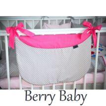 Berry Baby Smile pelenka tároló rendező kiságyra- pink- szürke pöttyös