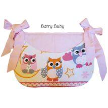 Berry Baby Smile pelenka tároló rendező kiságyra- rózsaszín baglyos