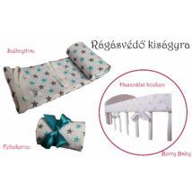 Berry Baby Rágásvédő kiságyra: türkiz-szürke csillagos