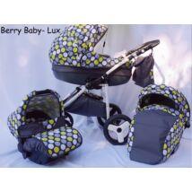 Berry Baby- LUX 3in1 babakocsi szett (autós hordozóval és adapterrel): Z-23 -GÉL KERÉKSORRAL