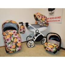 Berry Baby- MARINA 3in1 -prémium multifunkciós babakocsi szett: Grey Flowers