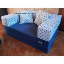 Berry Baby SUNSHINE szivacs kanapéágy és hempergő, gyerek méretben: Sötétkék lapok - piros apró vitorlás karfa