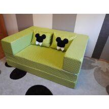 Berry Baby SUNSHINE szivacs kanapéágy és hempergő, felnőtt méretben: Lime pöttyös (Minnie vagy Mickey fantázia díszpárnákkal is kérhető)
