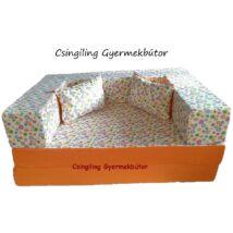 Berry Baby SUNSHINE szivacs kanapéágy és hempergő, felnőtt méretben: Narancs - apró virágos