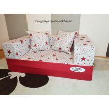 Berry Baby SUNSHINE szivacs kanapéágy és hempergő, gyerek méretben: Piros - piros csillagos