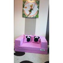 Berry Baby SUNSHINE szivacs kanapéágy és hempergő, gyerek méretben: Középrózsaszín pöttyös (Minnie fantázia díszpárnákkal is kérhető)