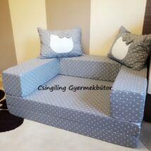 Berry Baby SUNSHINE szivacs kanapéágy és hempergő, felnőtt méretben: Szürke pöttyös (Hello Kitty fantázia díszpárnákkal is kérhető)