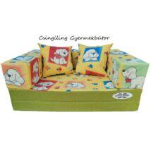 Berry Baby SUNSHINE szivacs kanapéágy és hempergő, gyerek méretben: Pisztácia - sárga kutyás mikroplüss