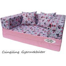 Berry Baby WEXTRA szivacs kanapéágy és hempergő, gyerek méretben: Puncs - rózsaszín baglyos
