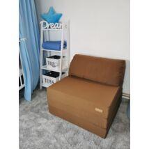 Berry Baby kihajtható szivacs pótágy/fotelágy ifjúsági méretben: Csokibarna - 8 választható párnával