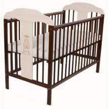 Kiságy (rácsos ágy): Tomi XVI- Dió/Fehér (Bemart ZEBRA mintával)