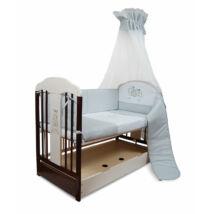 Kiságy (rácsos ágy): Tomi XVI-fehér/dió+ ÁGYNEMŰTARTÓ (Bemart ZEBRA mintával)