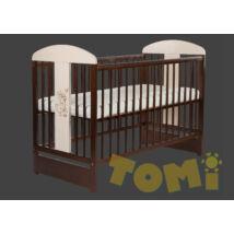 Kiságy (rácsos ágy): Tomi XVIII- Dió/fehér +ÁGYNEMŰTARTÓ  (Bemart NYUSZI mintával)