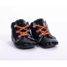 19-es Berry Baby puha talpú bőr kocsicipő: Fekete- narancs fűzős/színes