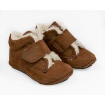 19-es Berry Baby puha talpú Nubuk bőr kocsicipő: Macibarna-tépőzáras