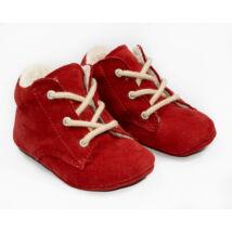 19-es Berry Baby puha talpú Nubuk bőr kocsicipő: Piros-fűzős