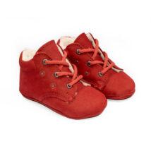 18-as Berry Baby puha talpú Nubuk bőr kocsicipő: Piros-fűzős