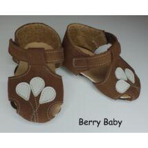 18-as: Berry Baby Barna lufis puha talpú bőr kocsicipő, szobacipő