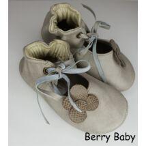 18-as: Berry Baby Ekrü virágos puha talpú bőr kocsicipő, szobacipő