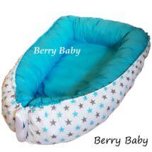 Berry Baby STARS and DOTS babafészek- levehető huzattal: türkiz- szürke csillagos