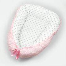 Berry Baby STARS and DOTS Babafészek-levehető huzattal: Fehér csillagos-rózsaszín nagy pöttyös
