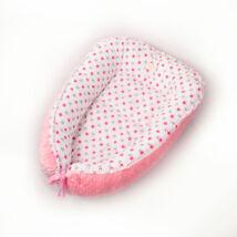 Babafészek 0-6 hó: Málna minky-szürke és pink csillagos