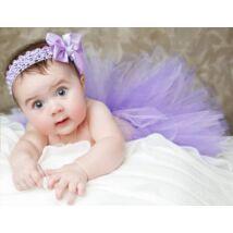 Tütü: lila, lila szatén szalaggal