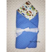 Berry Baby Pólyává alakítható prémium kötött babatakaró: Bluebird- babakék csillagos pamuttal