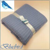 Berry Baby Pólyává alakítható prémium kötött babatakaró: Bluebird- SZALAGGAL- kék nagy baglyos pamuttal