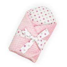 Málna minky-pink szürke csillagos Berry Baby kókuszpólya