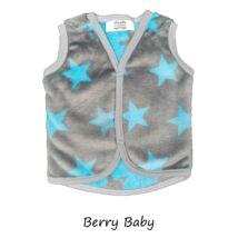 Berry Baby wellsoft mellény - Szürke alapon türkiz csillagos 0-6 hó