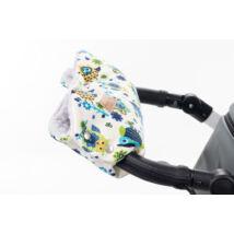 Babakocsira rögzíthető Berry Baby kesztyű: kék baglyos-szürke minky belsővel (univerzális)