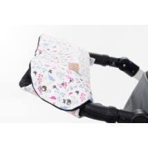 Babakocsira rögzíthető Berry Baby kesztyű- pink madaras ECO bőr-fekete polár belsővel (univerzális)