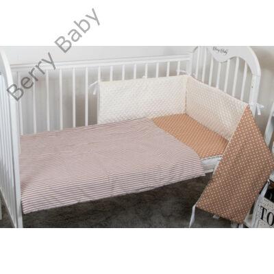 Berry Baby Selymes ekrü színű minky+barna csíkos/pöttyös babaágynemű szett (BŐVÍTHETŐ)