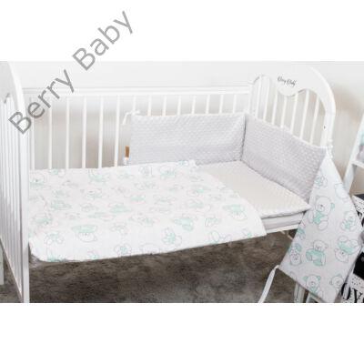 Berry Baby Selymes szürke minky+menta macis babaágynemű szett (BŐVÍTHETŐ)