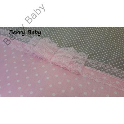 3 részes ágynemű szett (bővíthető)  Rózsaszín pöttyös+szürke apró pöttyös 087be9bc30