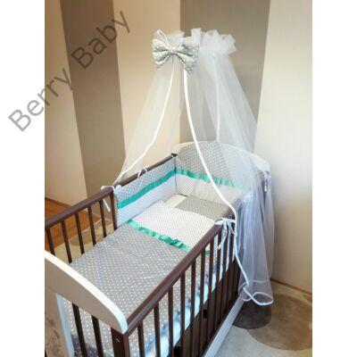 Berry Baby 3 részes ágynemű szett (bővíthető): szürke apró csillagos+fehér szíves
