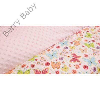 Selymes rózsaszín minky+színes pillangós babaágynemű szett (BŐVÍTHETŐ) d3d4c6cb98